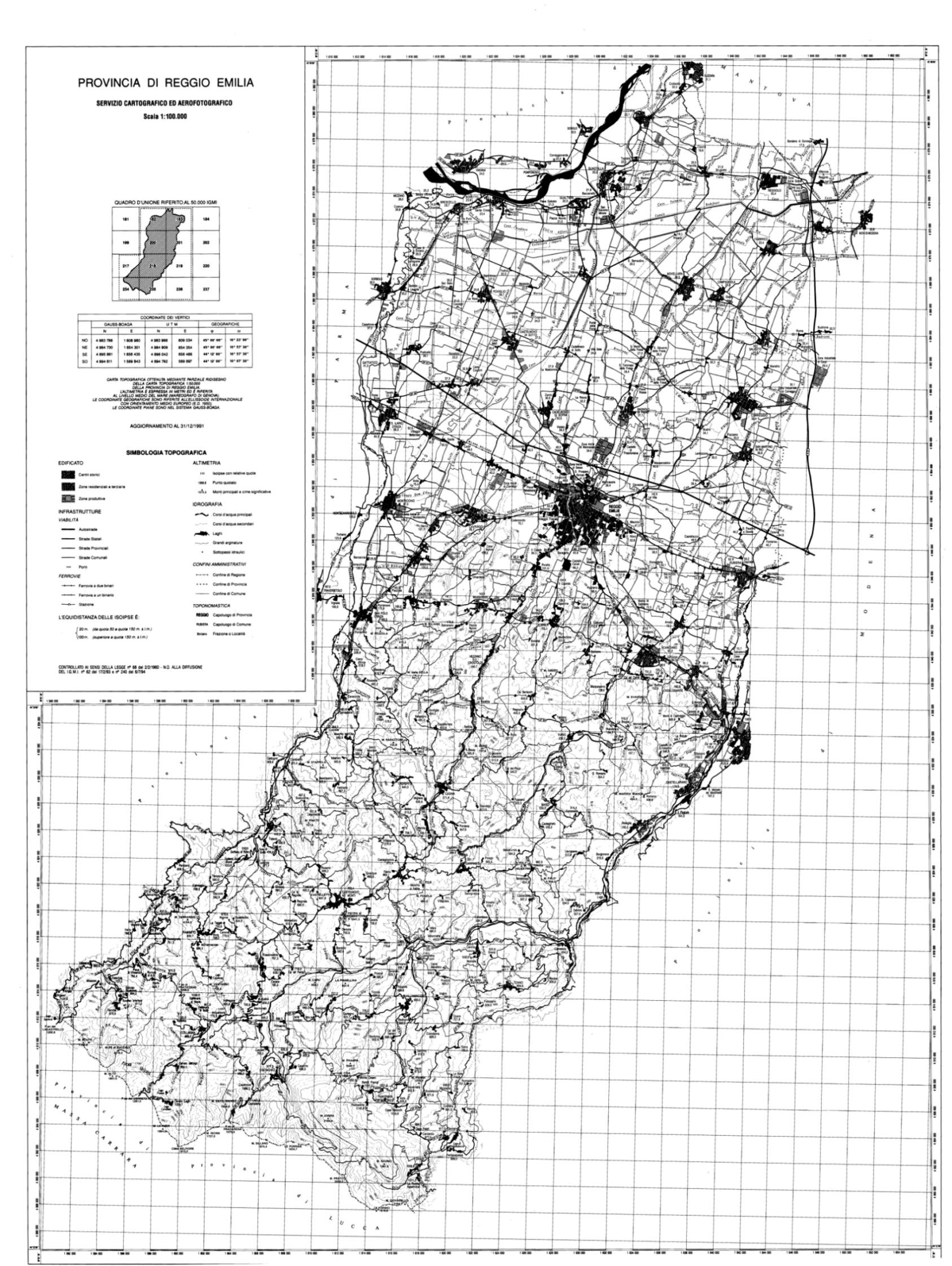 Cartina Topografica Emilia Romagna.Provincia Di Reggio Emilia Cartografia Di Base