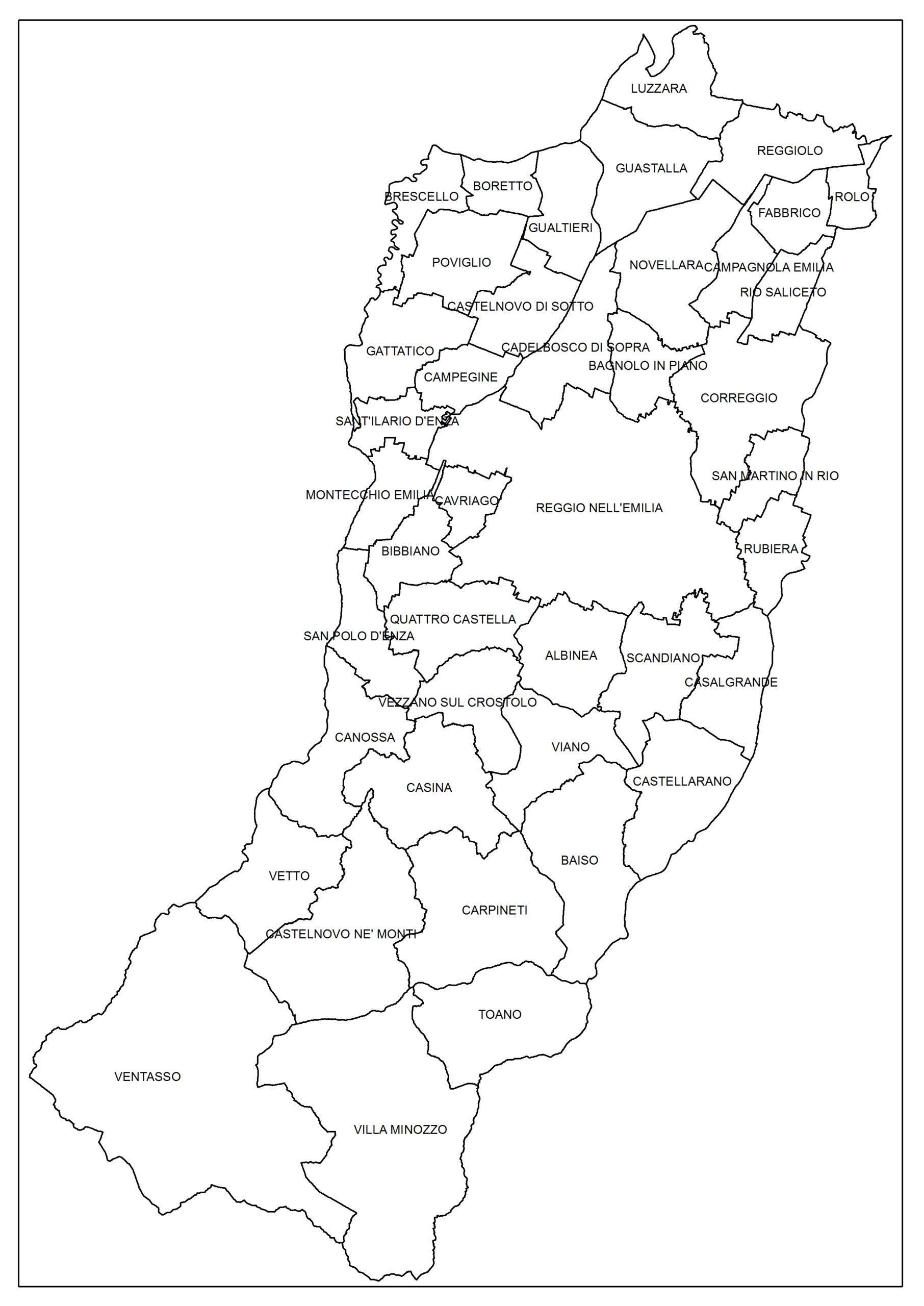Cartina Muta Emilia Romagna.Provincia Di Reggio Emilia Cartografia Di Base
